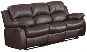 Bonded Leather Double Recliner Sofa Living