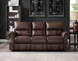 Hydeline Raymond Power Leather Reclining Sofa Couch